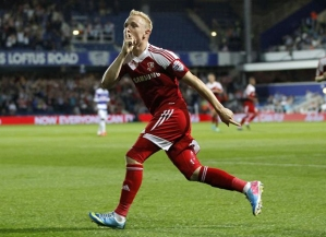 Cup King: Pritchard celebrates his goal against QPR.